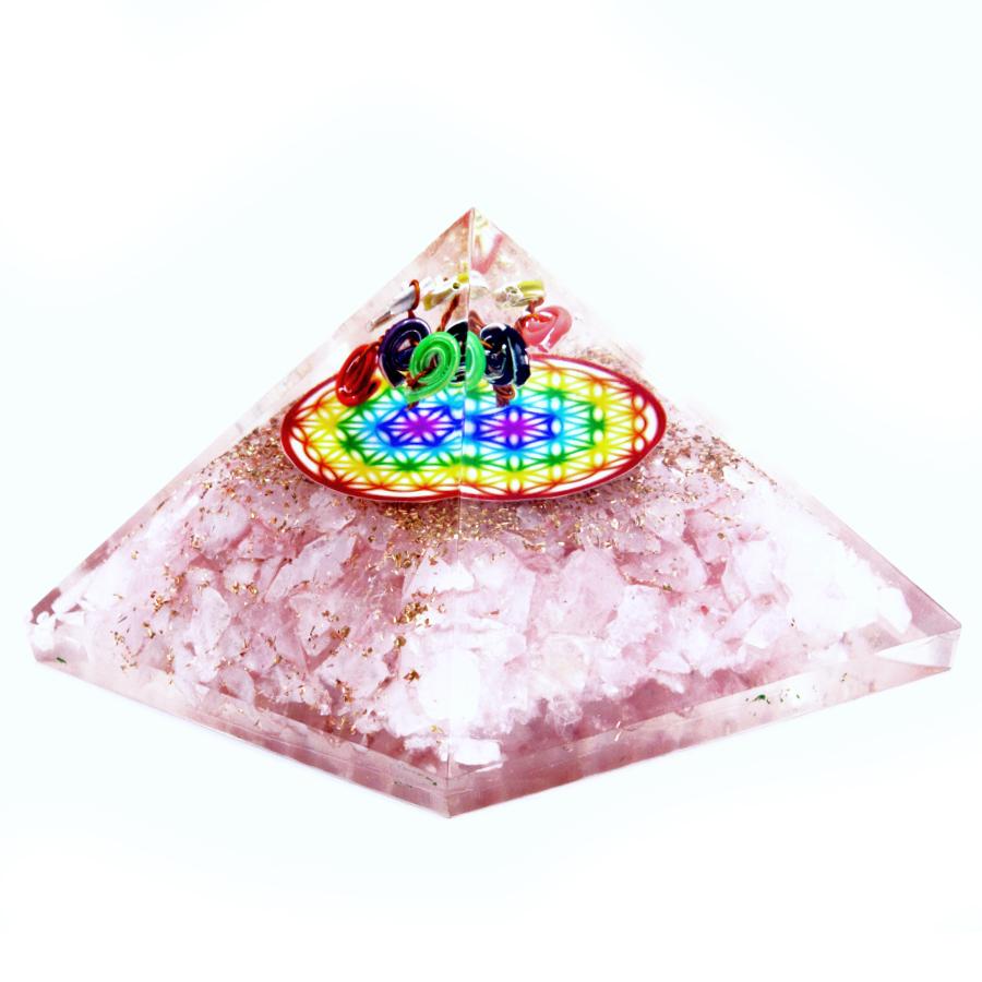 Orgonite pyramid with rose quartz